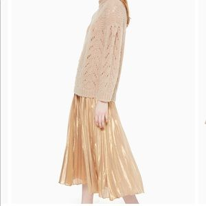 Kate Spade gold metallic pleated midi skirt